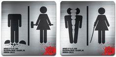トイレの男女マークをメディア化した、ホラーコンベンションの告知ステッカー   AdGang