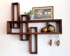 Modern Entryway Organizer with Magnetic Key Hooks in Choice .- Modern Entryway Organizer with Magnetic Key Hooks in Choice of Hardwood, Mid Century Modern Style Floating Shelf / Modern Entryway Wall Organizer with by KrovelMade - Walnut Shelves, Modern Entryway, Entryway Wall, Modern Wall, Modern Entrance, Entryway Ideas, Diy Casa, Regal Design, Entryway Organization