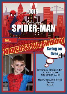 Jocelyn's Parties: Spider-man Birthday Party Invitation