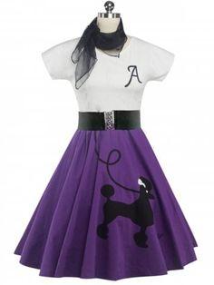 Retro Poodle Print High Waist Skater Dress