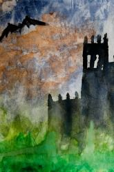 Watercolor haunted house-i love the effect of the watercolor