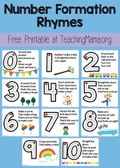 Number Formation Rhymes - Everything About Kindergarten Teaching Numbers, Numbers Preschool, Math Numbers, Teaching Math, Maths, Preschool Learning Activities, Preschool Lessons, Kindergarten Classroom, Preschool Binder