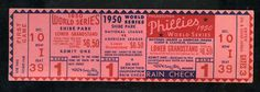 1950 Philadelphia Phillies World Series Baseball Ticket  Shibe Park