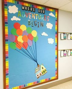 """We're loving """"Where our Adventure Begins"""" bulletin board! Who's still adjusting to their new adventure? Infant Bulletin Board, Disney Bulletin Boards, Creative Bulletin Boards, Elementary Bulletin Boards, Summer Bulletin Boards, Teacher Bulletin Boards, Back To School Bulletin Boards, Preschool Bulletin Boards, Classroom Bulletin Boards"""