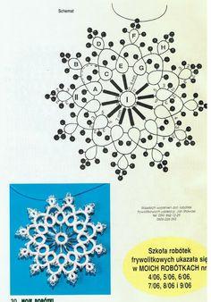 Tatting snowflake with beads