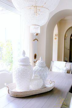 white ginger jars on dining table Spring Home Tour - Randi Garrett Design Elegant Home Decor, Elegant Homes, Diy Home Decor, Decorated Jars, White Vases, Home Pictures, Spring Home, At Home Store, Home Decor Accessories