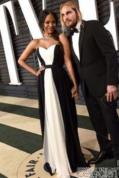 ==> [Free Shipping] Buy Best Inspired by Zoe Saldana Celebrity Dress Black & White A Line Chiffon Red Carpet Dress Evening Dresses Vestidos Online with LOWEST Price | 32791257869