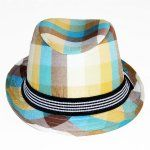 Fedora Hat - Blue, Brown & Orange Check