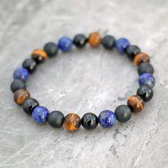 Benefits of Lapis Lazuli Lapis Lazuli Bracelet, Black Onyx, Semi Precious Gemstones, Crystal Healing, Beaded Bracelets, Drawstring Pouch, Beads, Royal Mail, Stretching