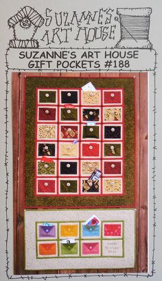 """Suzanne's Art House Pattern - Gift Pockets - Finished size is about 31"""" by 37"""" and 31"""" by 17"""""""