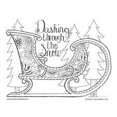 Christmas Sled Coloring Page Quote Coloring Pages, Printable Coloring Pages, Adult Coloring Pages, Coloring Sheets, Christmas Sled, Christmas Colors, Christmas Crafts, Xmas Pictures, Dashing Through The Snow