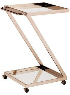 Cart Metal/Bright Gold - Singular Z-frame lofts open shelving to the ideal serving height and slim, seamless handle allows for easy push and pull. Plenty of space for your creative cocktails, stemware, and supplies, this glamourous bar cart can move from room to room or patio.