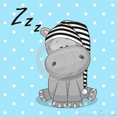 Illustration about Sleeping Hippo in a cap. Illustration of baby, celebrations, illustrations - 45694676 Baby Hippo, Cute Hippo, Baby Animals, Cute Animals, Baby Cartoon, Cartoon Pics, Cute Cartoon, Animal Drawings, Cute Drawings