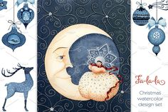 Fa-la-la Indigo Christmas Set by Watercolor Nomads on @creativemarket