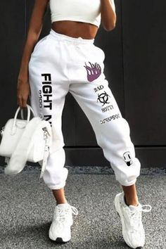 The BOOFEENAA Letters Graffiti Print White Sweatpants Joggers Women Streetwear High Waist Harem Pants Casual Trousers was built with people like you in mind. Something to keep you happy. Cute Sweatpants, Baggy Pants, Jogger Sweatpants, Harem Pants, Style Streetwear, Streetwear Fashion, Look Hip Hop, Sweatpants Outfit, Pants For Women