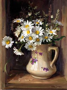 Oxeye Daisies with Grasses | Mill House Fine Art – Publishers of Anne Cotterill Flower Art