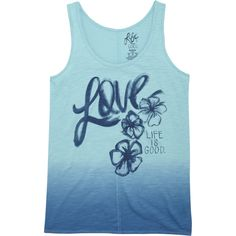 Life Is Good Love Tank Top. Aqua Blue. #LifeIsGood