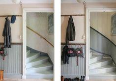 Pärlspont i trapplopp, före och efter. Foto: Erika Åberg