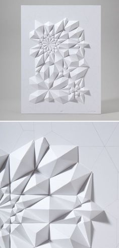 White paper origami on white board Triangle 3d, Diy Deco Rangement, Tesselations, Paper Engineering, Origami Paper, Decorating Blogs, Geometric Shapes, 3d Shapes, Paper Cutting