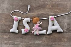 Felt name banner Pink Ballerina nursery decor personalized