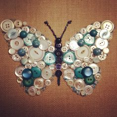 Butterfly button art on burlap