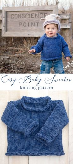 FREE knitting pattern for this Easy Baby Sweater. Easy Baby Sweater Knitting Pattern- a beginner-friendly project for a classic baby sweater! Boys Knitting Patterns Free, Baby Sweater Patterns, Knitting For Kids, Baby Patterns, Knitting Projects, Free Knitting, Summer Knitting, Loom Knitting, Knitting Ideas