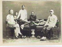 OLD HONG KONG ALBUMEN PHOTOGRAPH CHINESE OPIUM SMOKERS HONGKONG ANTIQUE C.1900