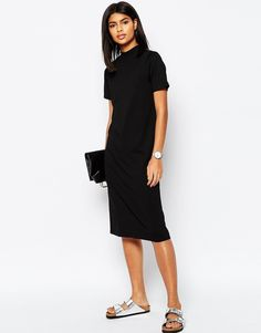 Image 1 of ASOS Midi T-Shirt Dress With High Neck