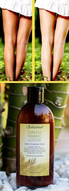 Sunless Tanning Lotion - Light to Medium tones. No Harsh chemical ingredients. Made with natures oils and butters for a flawless tan.