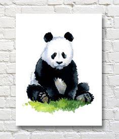 Panda Art Print - Nursery - Animal Art - Wall Decor - Watercolor Painting Panda Nursery, Animal Nursery, Watercolor Animals, Watercolor Paintings, Watercolor Paper, Panda Painting, Bear Drawing, 2nd Grade Art, Panda Art