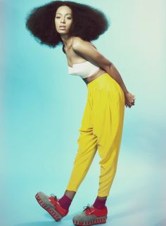 Solange's Natural Hair, White Bustier, Yellow Harem Pants, Creepers