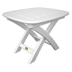 Trex Outdoor Furniture Recycled Plastic Yacht Club Side Table Classic White