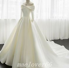 Find many great new & used options and get the best deals for Luxury Off Shoulder Satin Ball Gown 3/4 Sleeve White Ivory Wedding Dress Bridal at the best online prices at eBay! Free shipping for many products! Robes Disney, Cheap Wedding Dress, Wedding Party Dresses, Bridal Dresses, Winter Gowns, Ivory Wedding, Wedding Veils, White Ball Gowns, Gowns With Sleeves