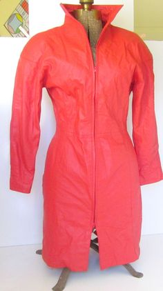 Vintage Red Leather Dress Sexy Lipstick Red by nanascottagehouse, $150.00