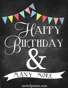 Happy Birthday Bunting Chalkboard Printable 1
