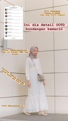Gaun Dress, Dress Brukat, Casual Hijab Outfit, Ootd Hijab, Hijab Chic, Airport Fashion Kpop, Street Hijab Fashion, Hijab Style Tutorial, Autumn Fashion Women Fall Outfits