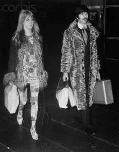 #Maureen Starkey  #Ringo Starr  #1960s  #60s fashion  #black and white  #60s  #sixties  #Maureen Cox  #fur  #peacock style  #afghan coat