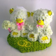 Bride and groom real flower teddy bears. For Wedding day or Valentine's Day flowers. gift https://www.facebook.com/FloralPlush
