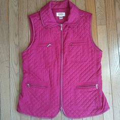 Talbots Quilted Zip-up Vest Dark pink, quilted zip-up vest from Talbots. Four pockets with zipper detail. Size Small. Great condition. Talbots Jackets & Coats Vests