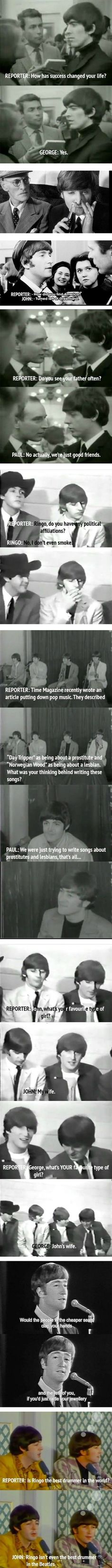 Why I adore the Beatles. music, stuff, funny guys, funni, one direction, humor, beatl, quot, thing