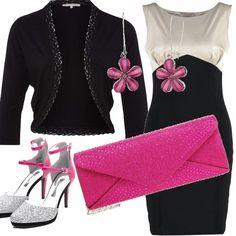 L'allegria del fuxia si combina con la serietà del bianco e nero. Il vestito a tubino bicolore da indossare con la giacchina corta. La scarpa ha tacco altissimo colorato e cinturino alla caviglia, la piccola pochette è rivestita di brillantini e gli orecchini a fiore richiamano la tonalità fucsia.