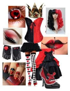 """QUEEN OF HEARTS (alice in wonderland)"" by anna-fuentes-sykes ❤ liked on Polyvore featuring Elope, Funtasma, Alice, aliceinwonderland and QueenOfHearts"