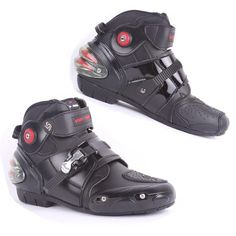 Motorbike Black Leather Boots Mens Motorcycle Waterproof Bikers Shoes Street Riding Motorcycle Boots All Sizes
