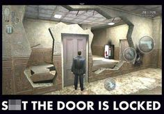 The door is locked. Can't go over it, can't go under it....