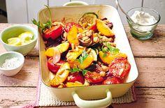 Spicy Pfirsich-Gemüse aus dem Ofen