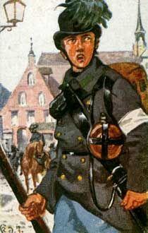 Österreich-Ungarn 1864: äger des Feld-Jäger-Batls. Nr. 22.  Hechtgrauer Rock m. gras-  grünem Kragen u. Aufschlä- gen. Der ausgeschlagene Hut mit grünem Busch, dazu schwarzes Lederzeug.