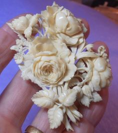 SUPERB-VERY-LARGE-VICTORIAN-FINELY-CARVED-FAUX-IVORY-MOSS-ROSE-BROOCH