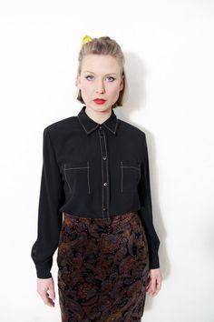 Vintage shirt / black simple stitch button down top / size M-L via Etsy