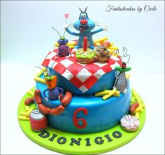 "It was a two tiers cake and 20 cm) of sponge cake filled with ""diplomate cream"", and lemon-orange syrup. All the decoration are from the french cartoon Oggy and the Cockroaches."