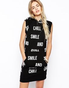 Enlarge ASOS Hoodie Dress in Smile and Chill Print